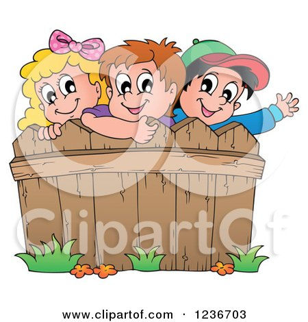 Clipart of Happy Caucasian Children Looking over a Wooden Fence - Royalty Free Vector Illustration by visekart