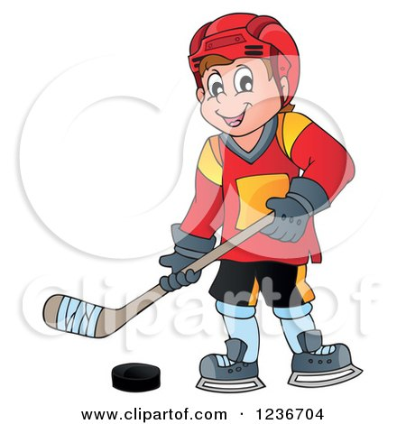 Clipart of a Happy Caucasian Male Ice Hockey Player - Royalty Free Vector Illustration by visekart