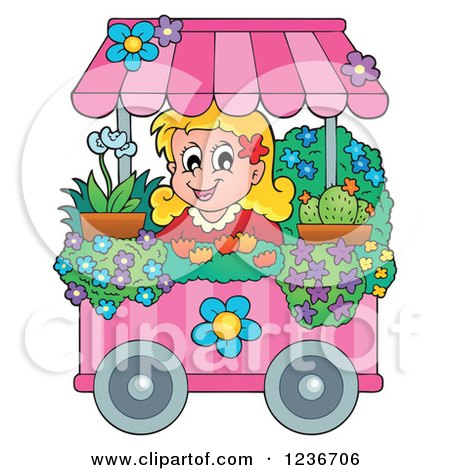 Clipart of a Happy Blond Girl Working at a Flower Shop Florist Cart - Royalty Free Vector Illustration by visekart