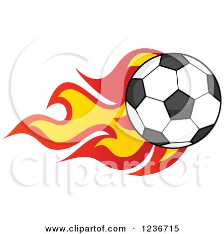 Clipart of a Flying Soccer Ball with Flames - Royalty Free Vector Illustration by Hit Toon