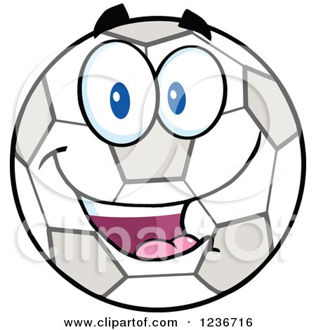 Clipart of a Happy Smilling Soccer Ball Character - Royalty Free Vector Illustration by Hit Toon