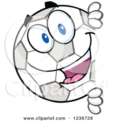 Clipart of a Happy Smilling Soccer Ball Character Peeking Around a Sign - Royalty Free Vector Illustration by Hit Toon