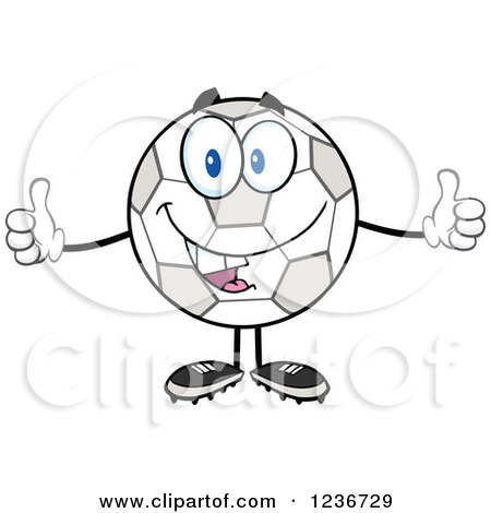 Clipart of a Happy Soccer Ball Character Holding Two Thumbs up - Royalty Free Vector Illustration by Hit Toon