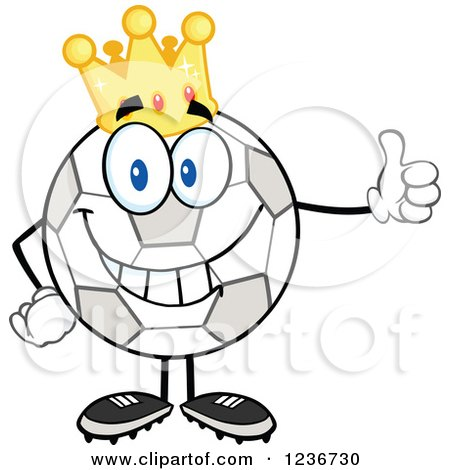 Clipart of a Happy Crowned Soccer Ball Character Holding a Thumb up - Royalty Free Vector Illustration by Hit Toon