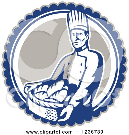 Clipart of a Retro Male Chef Baker Carrying a Basket of Bread in a Circle - Royalty Free Vector Illustration by patrimonio