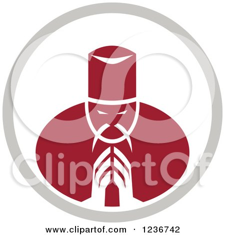 Clipart of a Red Asian Chef Bowing or Praying in a Circle - Royalty Free Vector Illustration by patrimonio