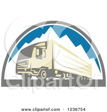 Clipart of a Retro Big Rig Truck over Mountains - Royalty Free Vector Illustration by patrimonio