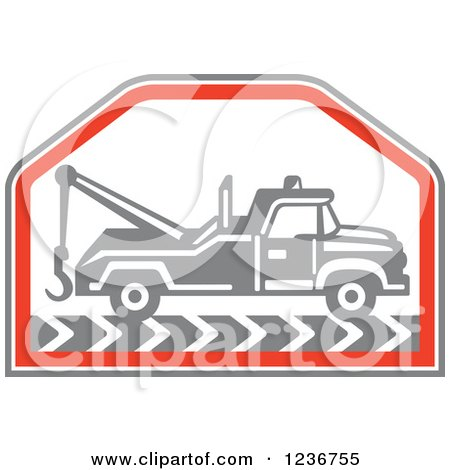 Clipart of a Retro Gray Tow Truck in a Red Hexagon - Royalty Free Vector Illustration by patrimonio
