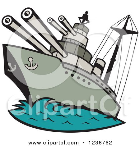 Clipart of a Cartoon WWII Naval Battleship - Royalty Free Vector Illustration by patrimonio