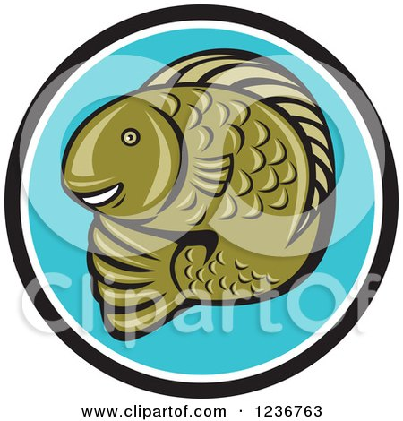 Clipart of a Happy Green Trout Fish in a Blue Circle - Royalty Free Vector Illustration by patrimonio