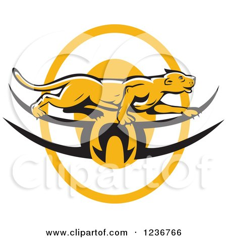 Clipart of a Cougar or Mountain Lion Prawling over a Tribal Logo - Royalty Free Vector Illustration by patrimonio