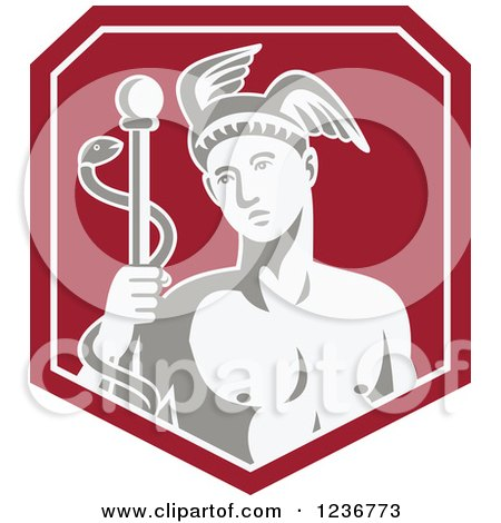 Clipart of Hermes with a Caduceus in a Red Shield - Royalty Free Vector Illustration by patrimonio