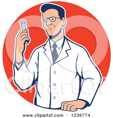 Clipart of a Bespectacled Scientist Holding a Test Tube in a Red Circle - Royalty Free Vector Illustration by patrimonio