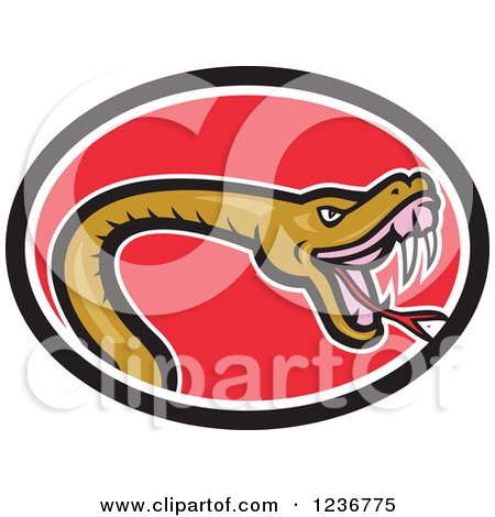 Clipart of a Biting Snake in a Red Oval - Royalty Free Vector Illustration by patrimonio