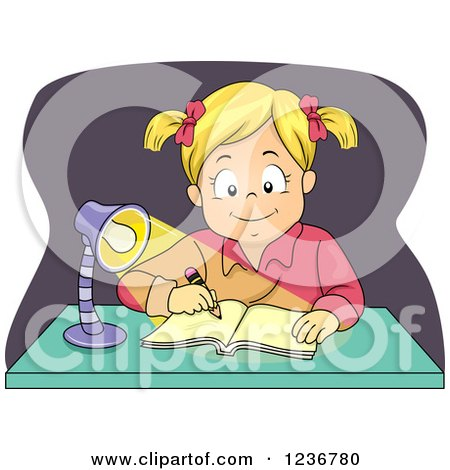 Clipart of a Happy Blond Girl Writing at a Desk at Night - Royalty Free Vector Illustration by BNP Design Studio