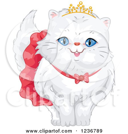 Clipart of a Cute Spoiled Persian Cat in a Skirt and Tiara - Royalty Free Vector Illustration by BNP Design Studio