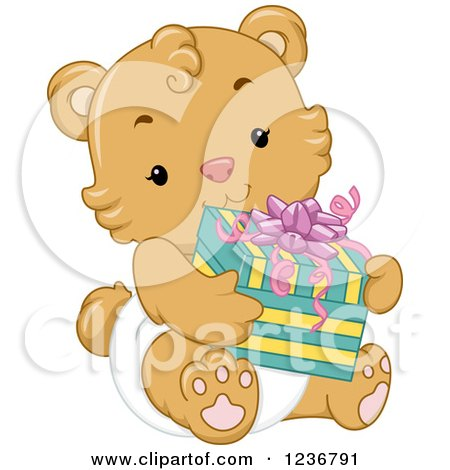 Clipart of a Cute Bear Cub Holding a Baby Shower Present - Royalty Free Vector Illustration by BNP Design Studio