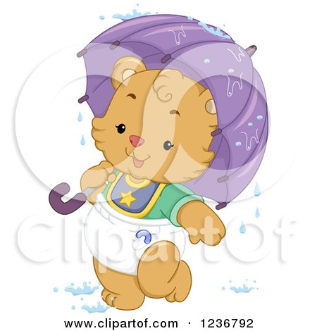 Clipart of a Cute Bear Cub with an Umbrella in Baby Shower Rain - Royalty Free Vector Illustration by BNP Design Studio