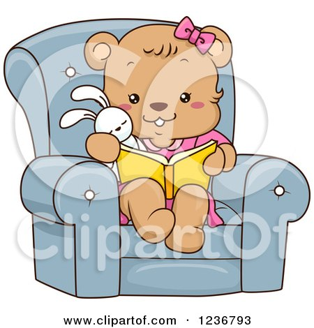 Clipart of a Cute Female Bear Cub Reading a Book in a Chair - Royalty Free Vector Illustration by BNP Design Studio