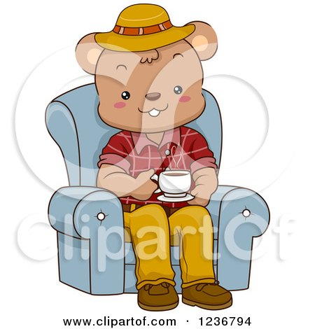 Clipart of a Happy Male Bear Drinking Coffee in a Chair - Royalty Free Vector Illustration by BNP Design Studio