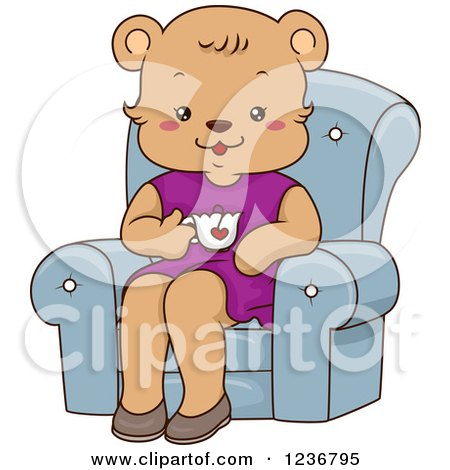 Clipart of a Happy Female Bear Drinking Tea in a Chair - Royalty Free Vector Illustration by BNP Design Studio