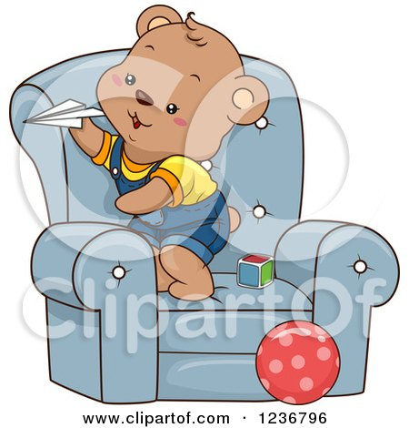 Clipart of a Happy Male Bear Cub Playing with Paper Planes in a Chair - Royalty Free Vector Illustration by BNP Design Studio