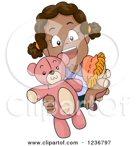 Clipart of a Happy African American Girl Holding up a Teddy Bear - Royalty Free Vector Illustration by BNP Design Studio