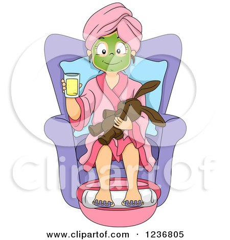 Clipart of a Happy Girl with a Stuffed Animal, Getting a Foot Soak at a Spa - Royalty Free Vector Illustration by BNP Design Studio