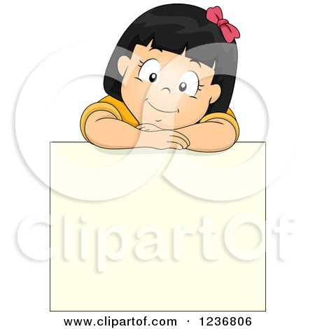 Clipart of a Happy Asian Girl Resting on Top of a Blank Sign Board - Royalty Free Vector Illustration by BNP Design Studio