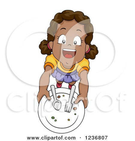 Clipart of a Happy African American Girl Holding up a Plate - Royalty Free Vector Illustration by BNP Design Studio