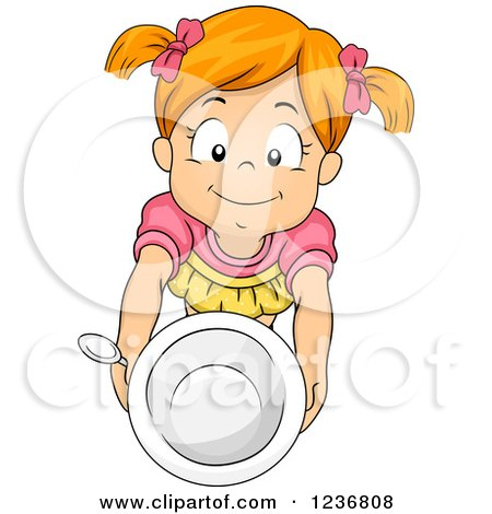 Clipart of a Hungry Red Haired Girl Holding up a Bowl - Royalty Free Vector Illustration by BNP Design Studio