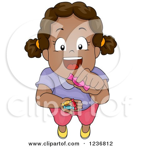 Clipart of a Happy African American Girl Sharing Candy - Royalty Free Vector Illustration by BNP Design Studio