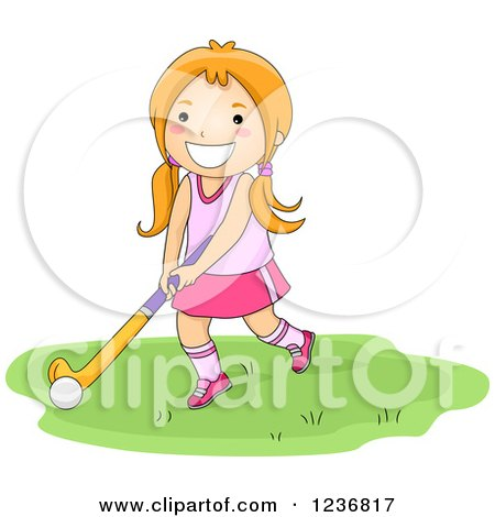 Clipart of a Caucasian Boy Holding a Field Hockey Stick and Ball ...