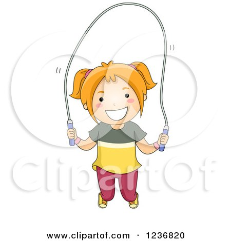 Clipart of a Happy Red Haired Girl Playing with a Jump Rope - Royalty Free Vector Illustration by BNP Design Studio