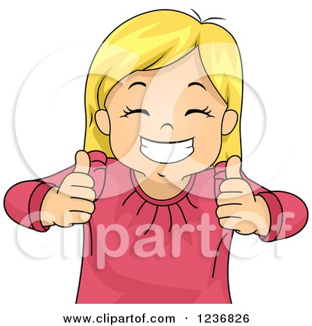 Clipart of a Happy Blond Girl Grinning and Holding Two Thumbs up - Royalty Free Vector Illustration by BNP Design Studio