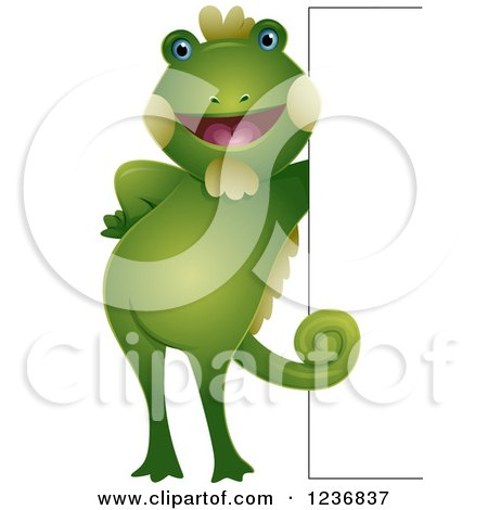 Clipart of a Cute Iguana Leaning Against a Sign - Royalty Free Vector Illustration by BNP Design Studio
