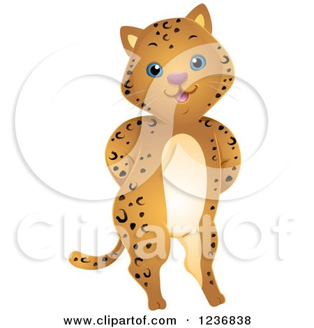 Clipart of a Cute Jaguar Standing with His Hands Behind His Back - Royalty Free Vector Illustration by BNP Design Studio