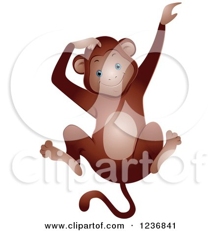 Clipart of a Cute Happy Monkey Scratching His Head - Royalty Free Vector Illustration by BNP Design Studio