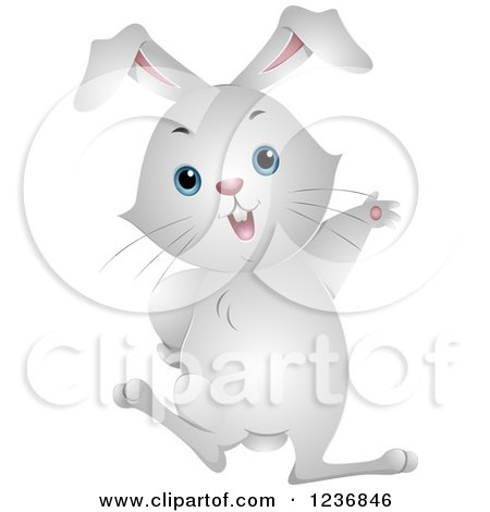 Clipart of a Cute White Bunny Rabbit Waving - Royalty Free Vector Illustration by BNP Design Studio