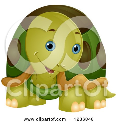 Clipart of a Cute Tortoise Cocking His Head - Royalty Free Vector Illustration by BNP Design Studio