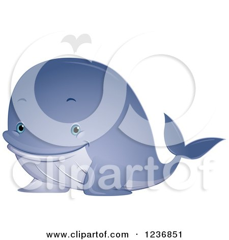 Clipart of a Cute Spouting Blue Whale - Royalty Free Vector Illustration by BNP Design Studio