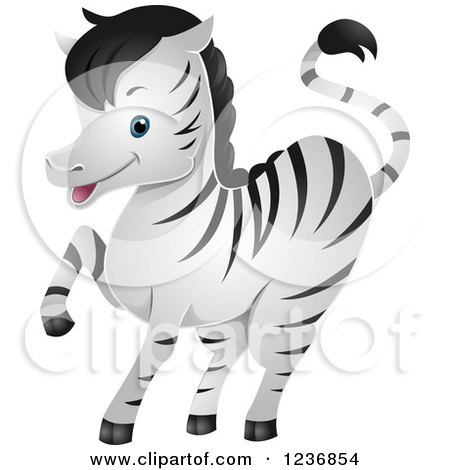 Clipart of a Cute Zebra Prancing - Royalty Free Vector Illustration by BNP Design Studio