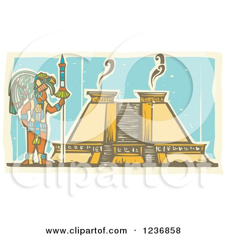 Clipart of a Mayan King and Pyramid - Royalty Free Vector Illustration by xunantunich