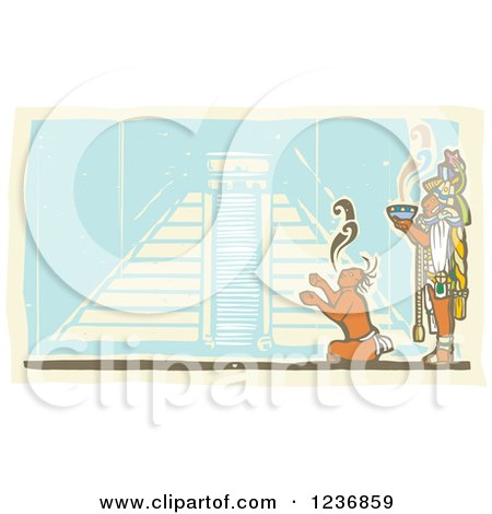 Clipart of a Mayan King Holding a Smoking Bowl over a Servant and Pyramid - Royalty Free Vector Illustration by xunantunich