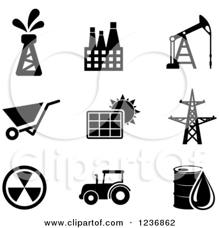 Clipart of Black and White Energy and Oil Icons - Royalty Free Vector Illustration by Vector Tradition SM