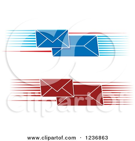 Clipart of Fast Red and Blue Envelopes with Speed Lines - Royalty Free Vector Illustration by Vector Tradition SM