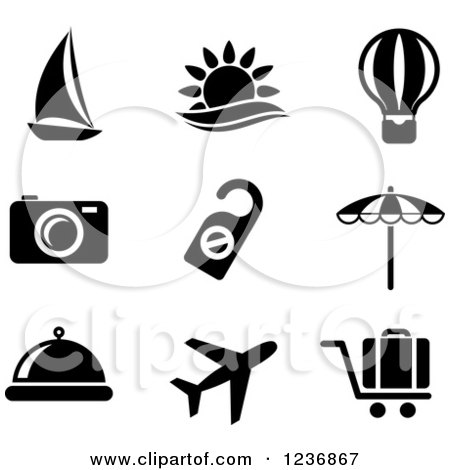 Clipart of Black and White Travel Icons - Royalty Free Vector Illustration by Vector Tradition SM