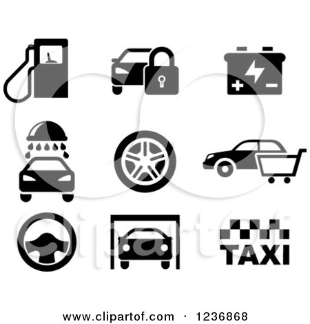 Clipart of Black and White Automotive and Service Icons - Royalty Free Vector Illustration by Vector Tradition SM