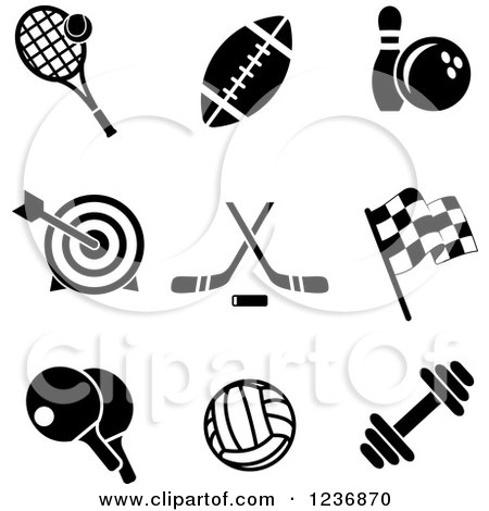 Clipart of Black and White Sports and Recreation Icons - Royalty Free Vector Illustration by Vector Tradition SM