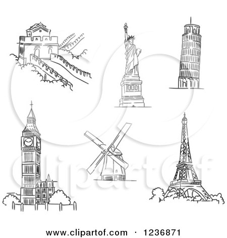 Clipart of Black and White Sketched Architectural Monuments and Landmarks 2 - Royalty Free Vector Illustration by Vector Tradition SM